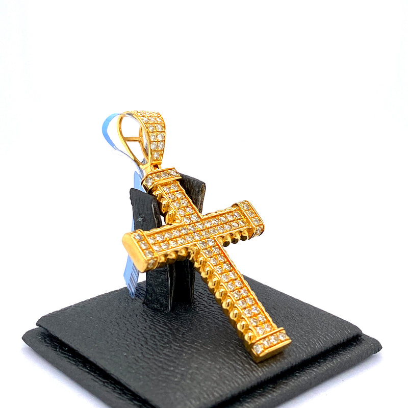 10Kt Yellow Gold Cross Pendant 1.35CTW Diamonds