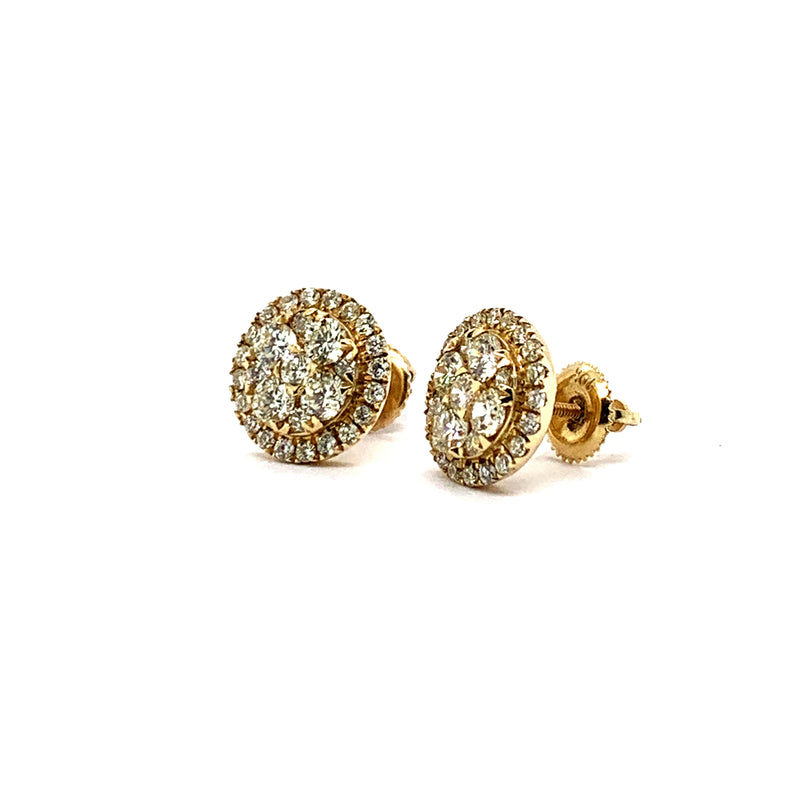 14KT Yellow Gold 1.60CTW Diamond Cluster Earrings