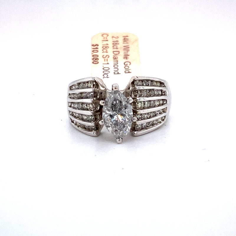 14Kt White Gold 2.18CTW Diamond Solitaire Bridal Wedding Engagement Ring