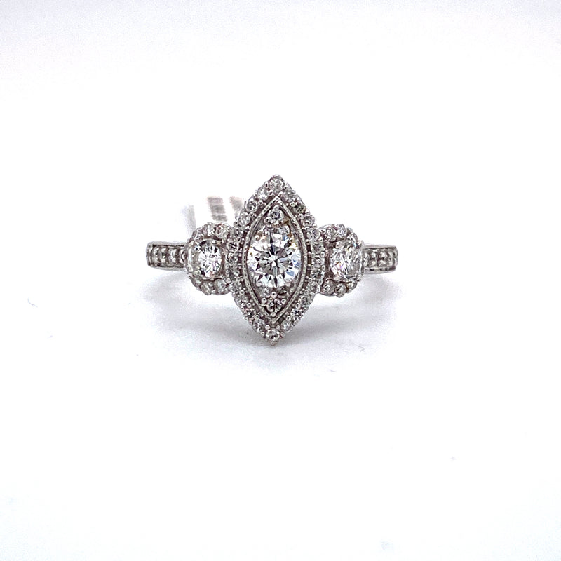 14Kt White Gold 1.00CTW Diamond Bridal Engagement Wedding Ring