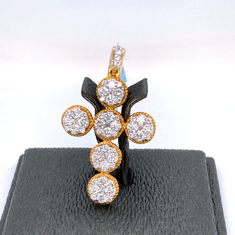 14Kt 2-Tone Yellow and White Gold Cross Pendant 1.20CTW Diamonds