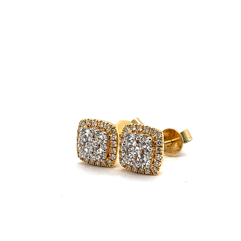 14KT Yellow Gold 1.00CTW Diamond Cluster Earrings