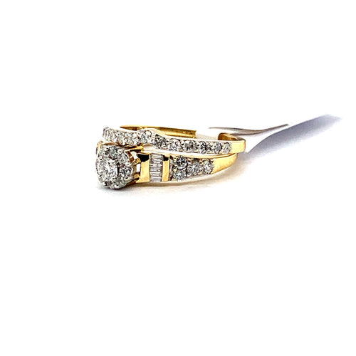 14Kt Yellow Gold 1.65CTW Solitaire Diamond Bridal Wedding Engagement Ring Set