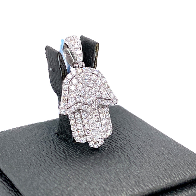 14Kt White Gold Hamza Pendant 1.00CTW Diamonds