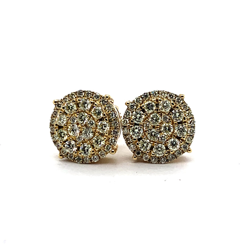 10KT Yellow Gold 1.50CTW Diamond Oversized Cluster Earrings