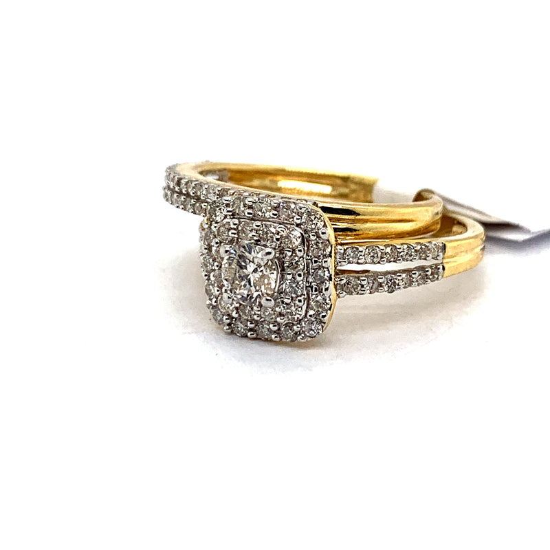 14Kt Yellow Gold 1.05CTW Solitaire Diamond Bridal Wedding Engagement Ring Set