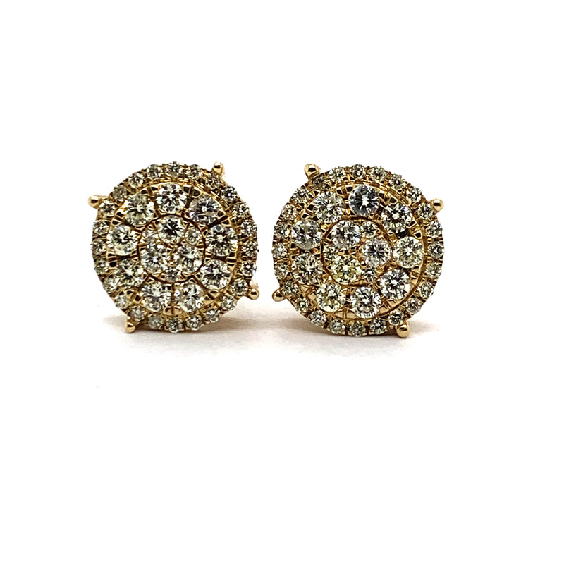 10KT Yellow Gold 2.00CTW Diamond Oversized Cluster Earrings