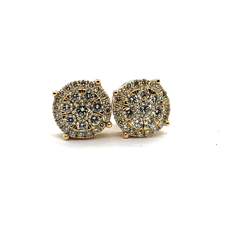 14KT Yellow Gold 2.00CTW Diamond Oversized Cluster Earrings