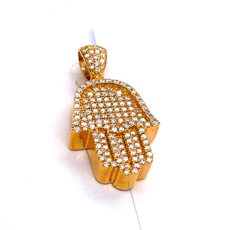 14Kt Yellow Gold Hamza Pendant 1.50CTW Diamonds