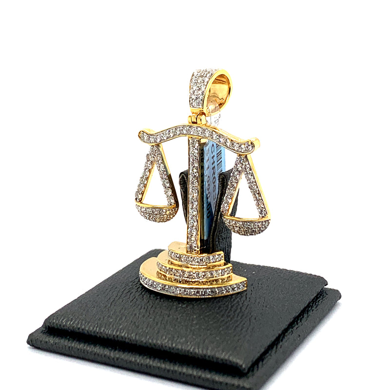 10Kt Yellow Gold Justice Scale Pendant 2.10CTW Diamonds