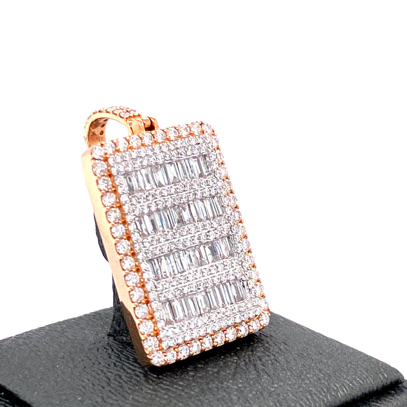 10Kt 2-Tone Rose and White Gold Square Pendant 3.00CTW Diamonds