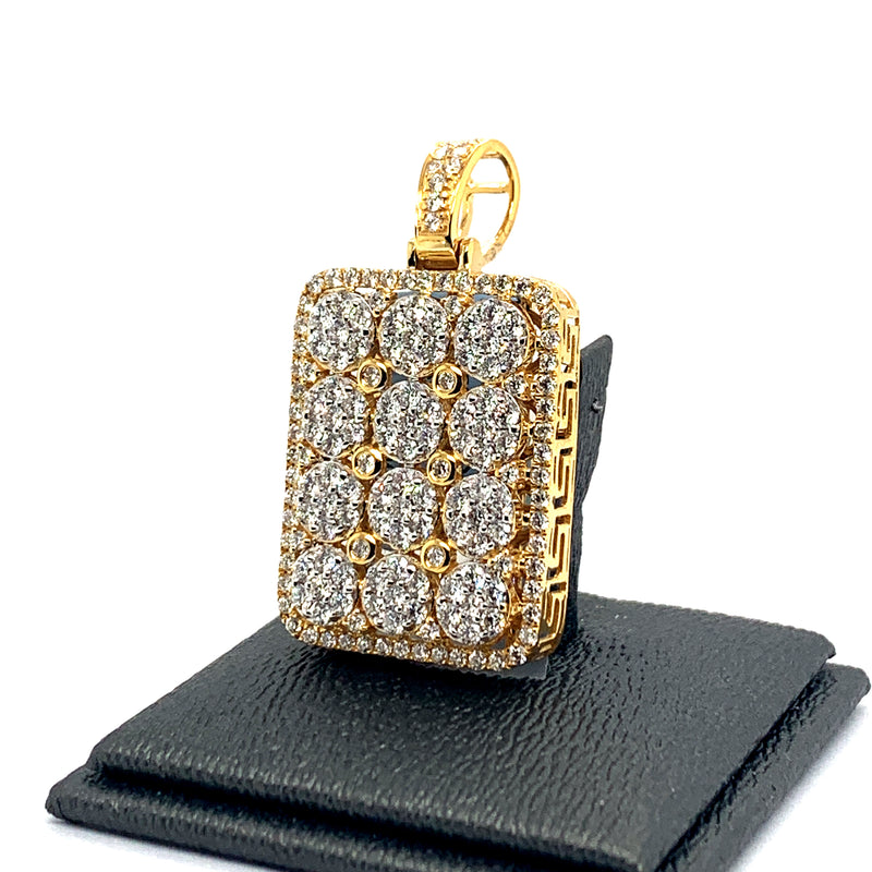 10Kt Yellow Gold Dogtag 3.00CTW Diamonds