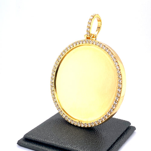 10Kt Yellow Gold Circle Picture Pendant 1.75CTW Diamonds