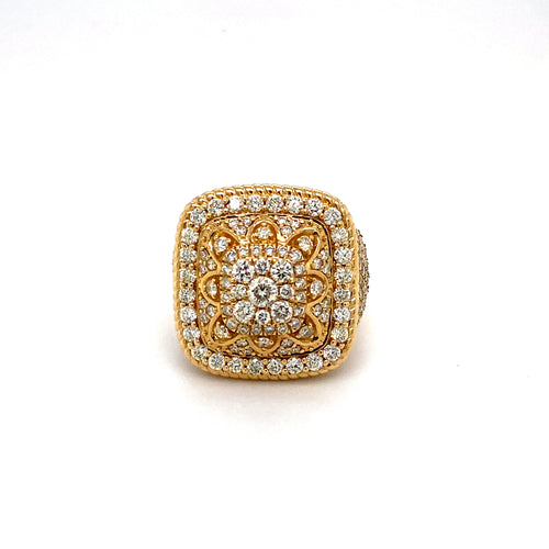 14Kt Yellow Gold 4.20ct Diamond Men's Championship Style Ring