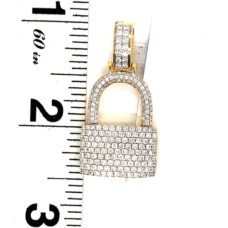 14Kt Yellow Gold Padlock Pendant 1.60CTW Diamonds