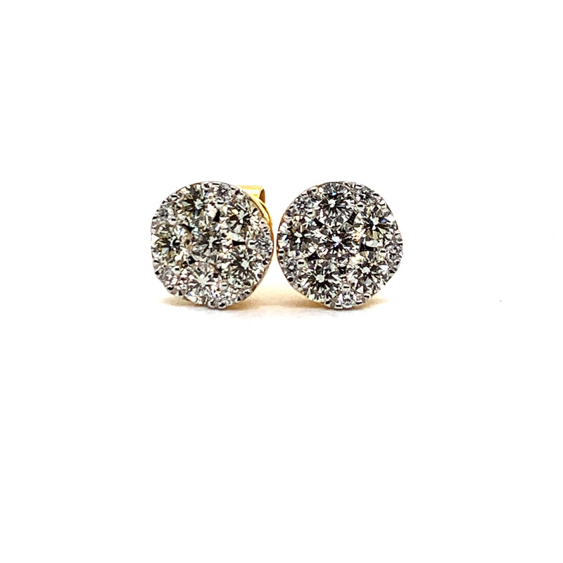 14KT Yellow Gold 1.46CTW Diamond New Style Cluster Earrings