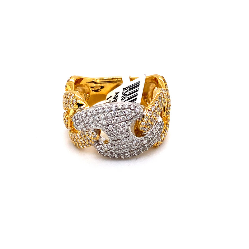 14Kt Yellow Gold 2.11CTW Diamond Men's Gucci Cuban Link Ring