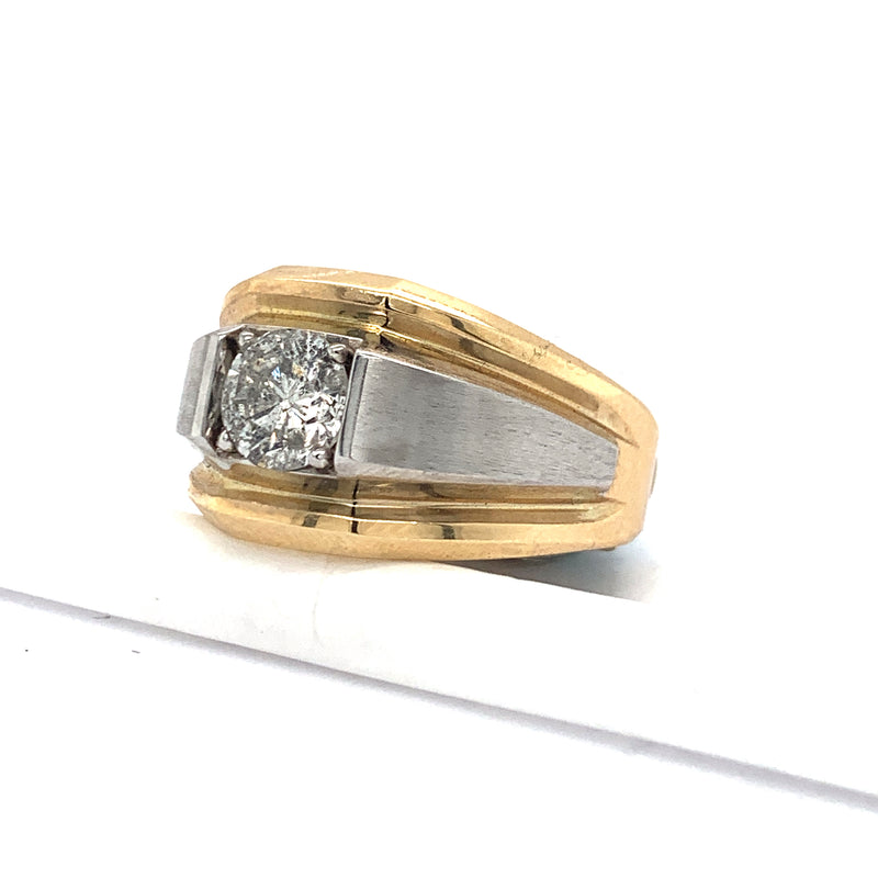 14Kt Two-Tone Yellow and White Gold 1.21CTW Solitaire Diamond Men's Ring