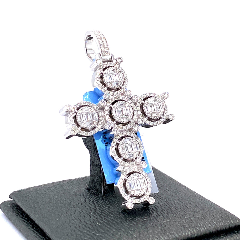 14Kt White Gold Cross Pendant 1.21CTW Diamonds