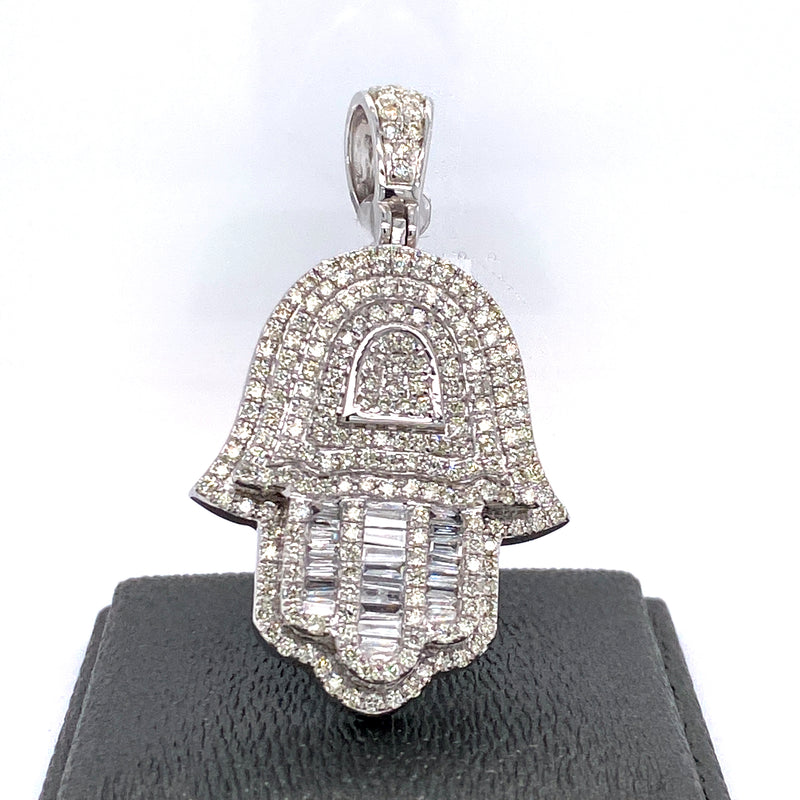 14Kt White Gold Hamza Pendant 2.65CTW Diamonds