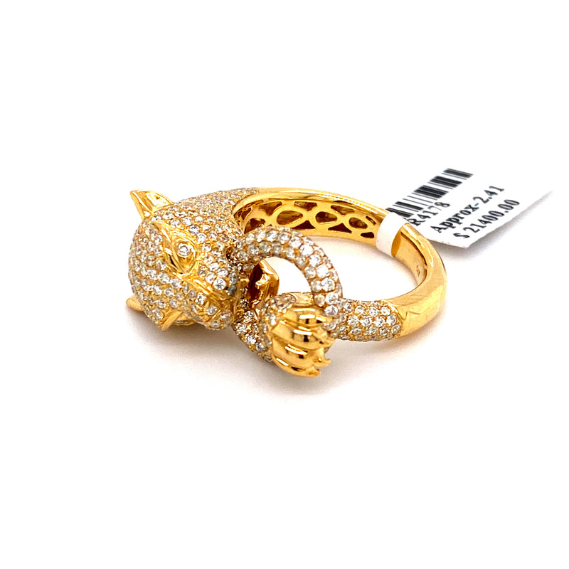 14Kt Yellow Gold 2.41CTW Diamond Jaguar Ring