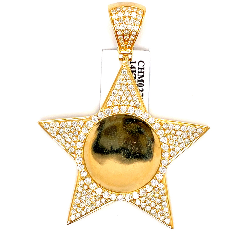 14Kt Yellow Gold Star Picture Pendant 2.32CTW Diamonds