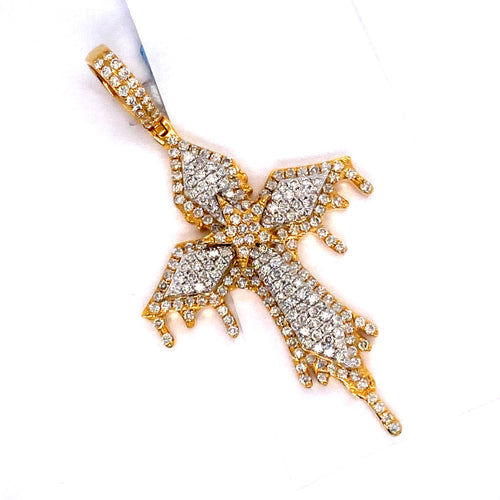 14Kt 2-Tone Yellow and White Gold Drip Cross Pendant 2.35CTW Diamonds
