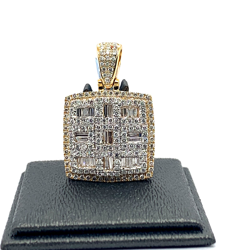 14Kt 2-Tone Yellow and White Gold Square Pendant 2.30CTW Diamonds