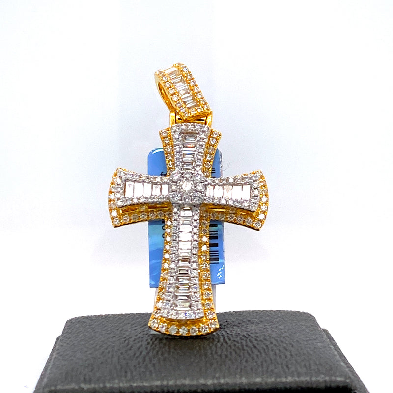 14Kt 2-Tone Yellow and White Gold Cross Pendant 2.18CTW Diamonds