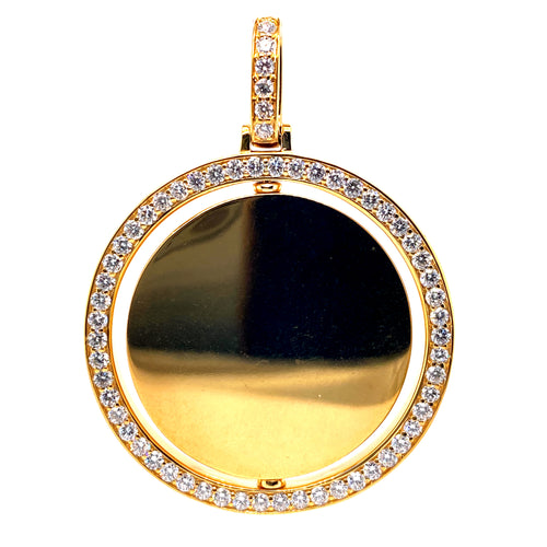 14Kt Yellow Gold Double Sided Circle Picture Pendant 1.85CTW Diamonds