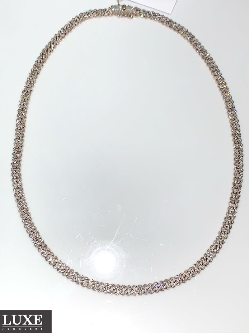 10Kt Rose Gold Diamond Miami Cuban Chain 4.50CTW