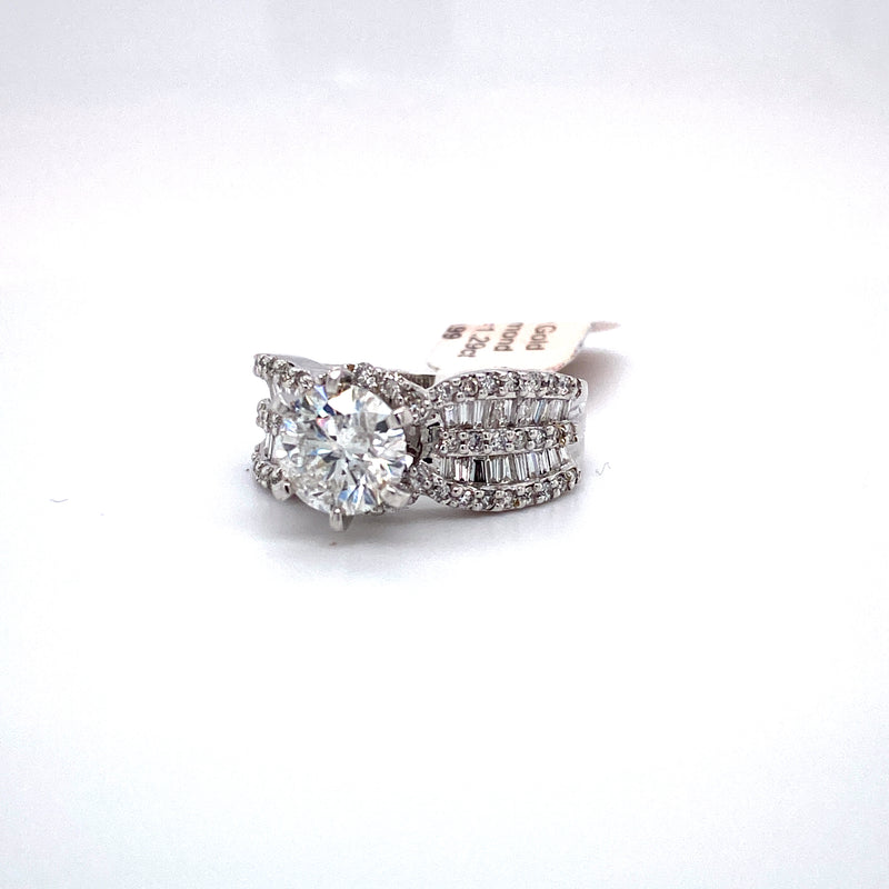 14Kt White Gold 3.50CTW Diamond Solitaire Bridal Wedding Engagement Ring