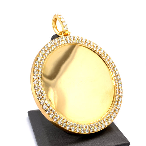 10Kt Yellow Gold Circle Picture Pendant 9.00CTW Diamonds