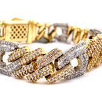 10Kt 2-Tone Yellow and White Gold 12.50Ct Men's Diamond Cuban Gucci Link Bracelet
