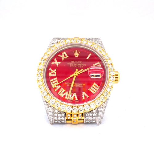 Custom Rolex Datejust 18K & Stainless Steel 36MM Red Dial Diamond Watch 13.0CTW