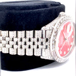 Custom Rolex Datejust 36MM Stainless Steel 16014 Red Dial Diamond Watch 13.5 Carat Total Weight