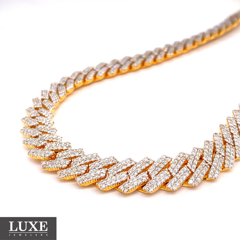 10Kt Yellow Gold Diamond Miami Cuban Chain 18.31CTW
