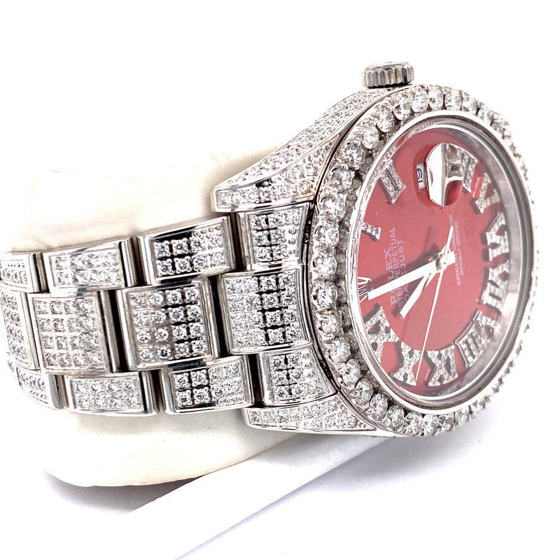 Custom Rolex Datejust II 116300 41MM Red Dial Diamond Watch 20.5 Carat