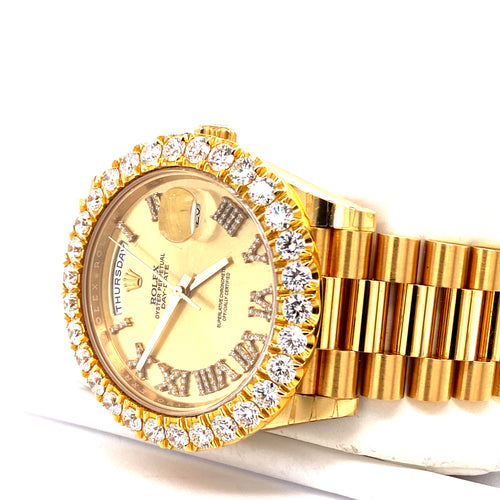 Custom Rolex 18K Yellow Gold 40MM Day-Date II 228238 Presidential Diamond Watch With 6.00 Carat Total Weight