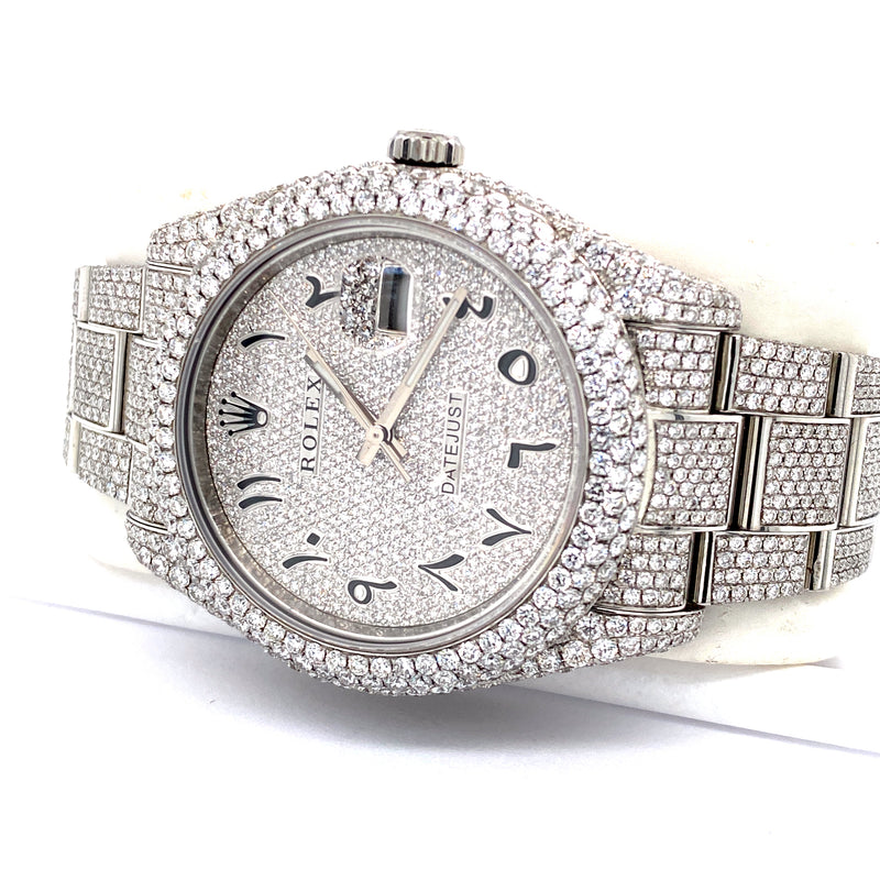 Custom Rolex Datejust II 116300 41MM Stainless Steel VS Diamond Watch 23.75 Carat Total Weight