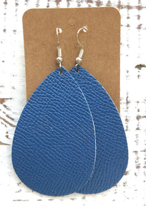 Leather Earrings - Azure Blue Teardrop
