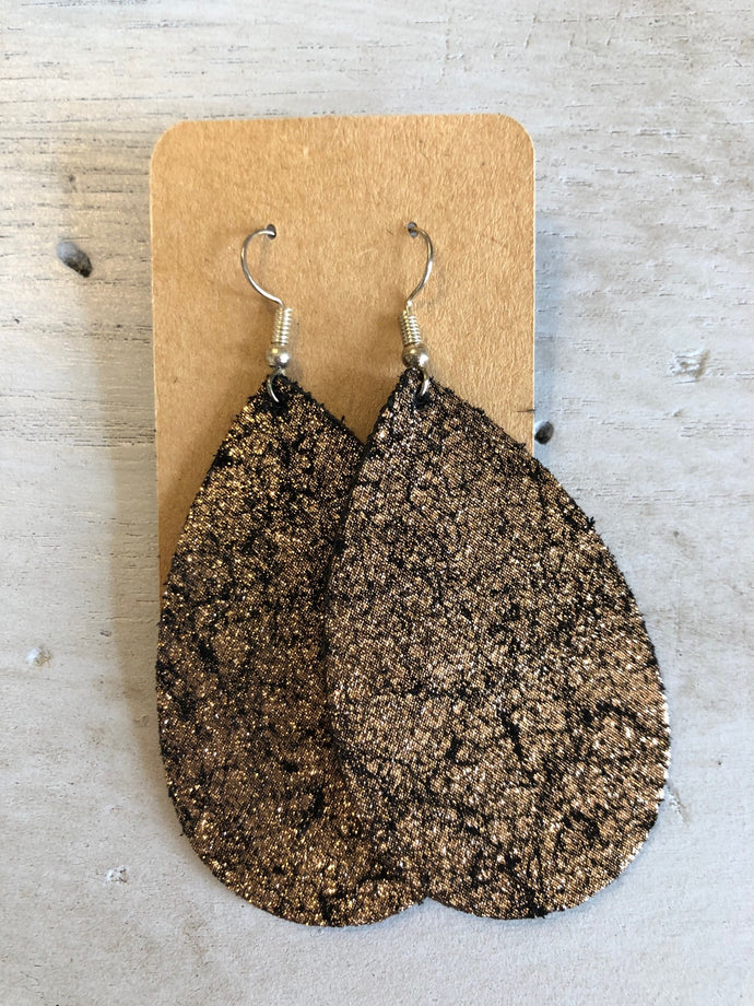 Leather Earrings - Black and Metallic Gold Teardrop