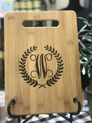 Engraved Cutting Board with Initial + Laurels
