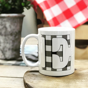 Mug with Buffalo Check Initial