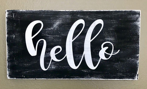Wooden Sign - hello