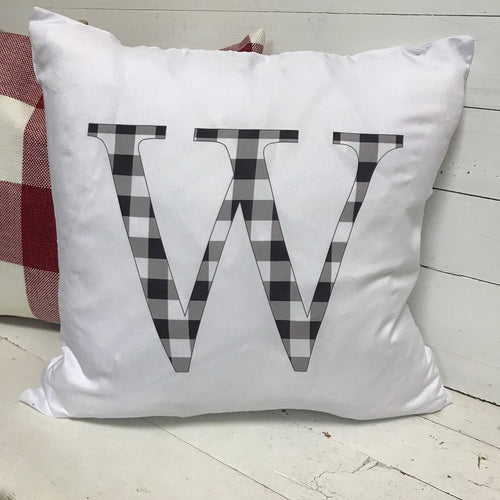 Throw Pillow - White Buffalo Check Initial