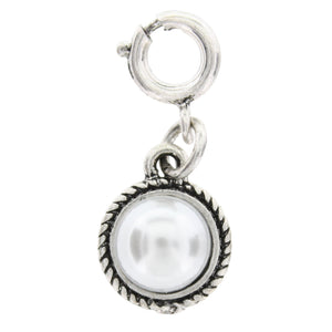 Jane Marie Silver Pearl Charm