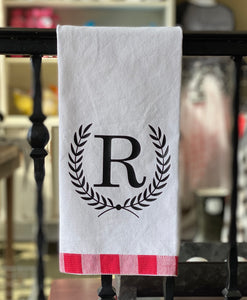 Hand Towel - Custom with Initial + Laurels