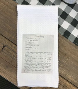 Towel with Printed Recipe