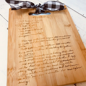 Engraved Cutting Board with Handwriting